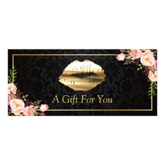 3D Gold Lips Beauty Salon Floral Gift Certificate Rack Cards