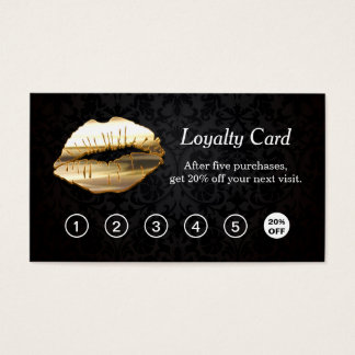 3D Gold Lips Makeup Salon Loyalty Punch Card