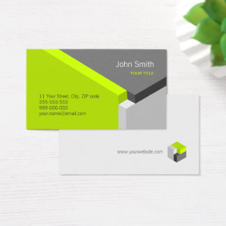 3D Green Grey Geometry Architect business card