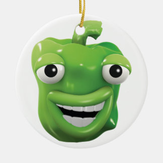 3d Green pepper laughs! Ceramic Ornament