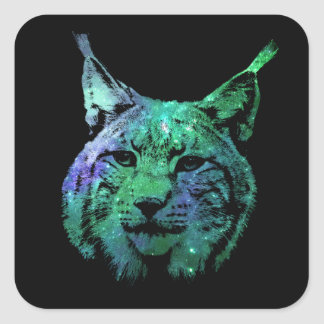 3D green purple Galaxy Lynx | cosmic Wild Cat Square Sticker
