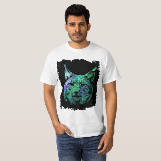 3D green purple Galaxy Lynx | cosmic Wild Cat T-Shirt