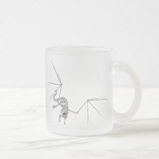 3D Halftone Flying Dragon Skeleton 1 Frosted Glass Mug