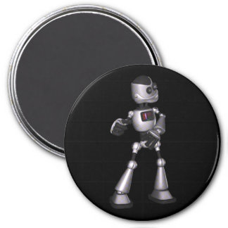 ♪♫♪ 3D Halftone Sci-Fi Robot Guy Dancing 3 Inch Round Magnet