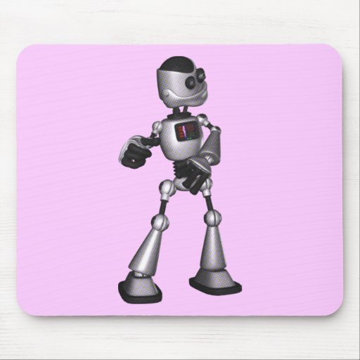 ♪♫♪ 3D Halftone Sci-Fi Robot Guy Dancing Mouse Pads