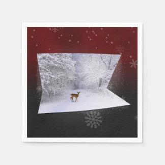 """3D Illusion """"Snowy Dreams"""" - Paper Napkin"""