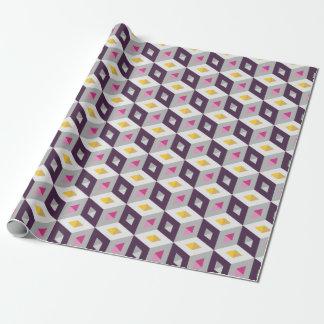 3D Isometric Cubes Pattern Purple