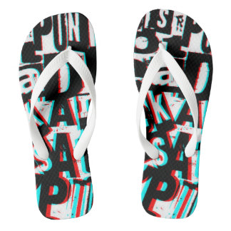 3D letters punk rock style unisex flip flops
