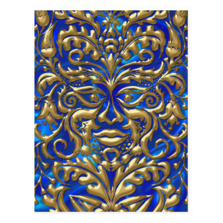 3D Liquid Gold GreenMan Damask on Satin Lush Postcard