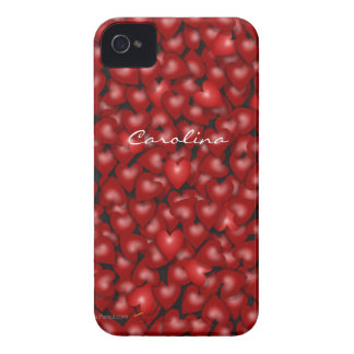 3D Look Red Hearts Valentine Custom Name Cover iPhone 4 Covers