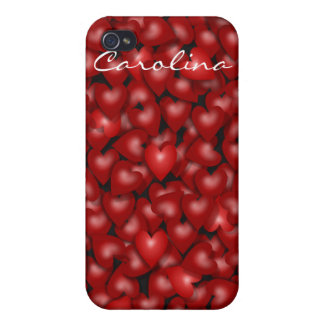 3D Look Red Hearts Valentine Custom Name Cover iPhone 4 Case