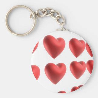 3D Love Hearts Design Basic Round Button Keychain
