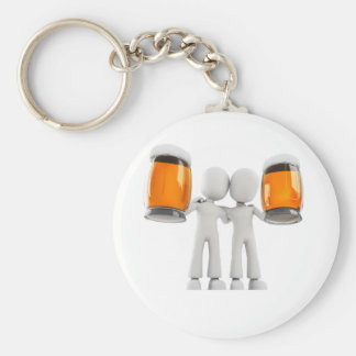 3d man and beer basic round button keychain