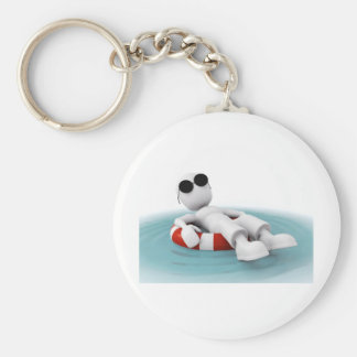 3d man relaxing in a pool keychain