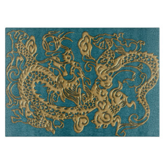 3D Metallic Dragons on Teal Leather Print Boards