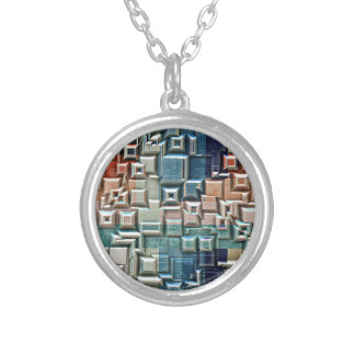 3D Metallic Structure Silver Plated Necklace