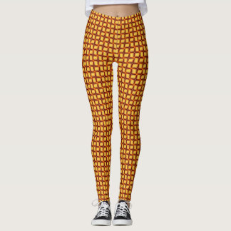 3D Metallic Woven Gold Bars Leggings