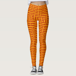 3D Metallic Woven Gold Tubes Leggings