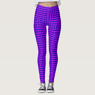 3D Metallic Woven Vivid Violet Tubes Leggings