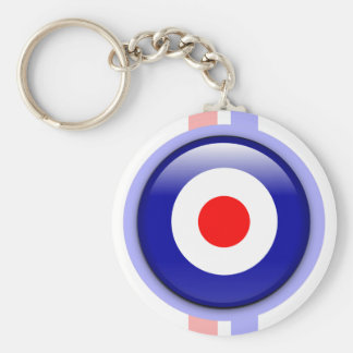 3d Mod target on Blue and red lines Basic Round Button Keychain