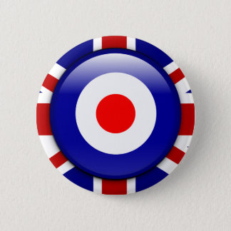 3D Mod target on Union jack print 2 Inch Round Button