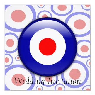 3d Mod Target sixties pattern Wedding invitation
