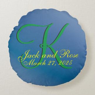3d Monogram  Blueberry Round Pillow