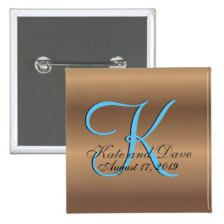3d Monogram Bronze 2 Inch Square Button