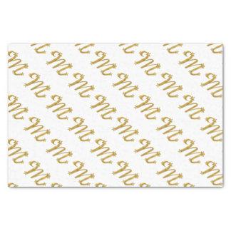 3D Monogram Gold Letter M Tissue Paper