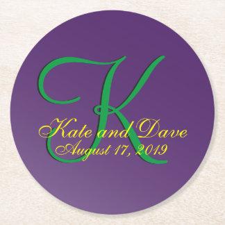 3d Monogram Purple Round Paper Coaster