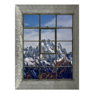 3D Mountains View Fake Window Poster