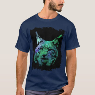 3D mystical Galaxy Lynx  colorful Fantasy Wild Cat T-Shirt