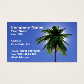 3D Palm Tree with Sun Against Clear Blue Sky Business Card