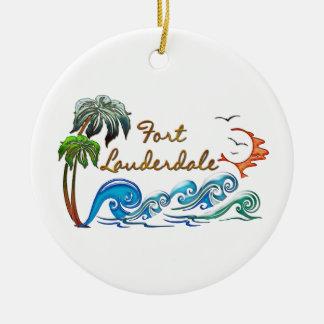 3d Palms, Waves & Sunset FORT LAUDERDALE Round Ceramic Ornament
