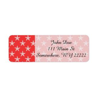 3D Patriot Stars on Red Return Address Label