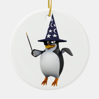 3d penguin wizard ceramic ornament