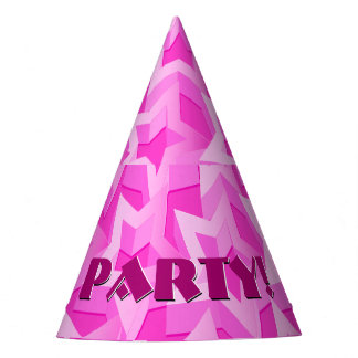 3D pink stars Party Hat
