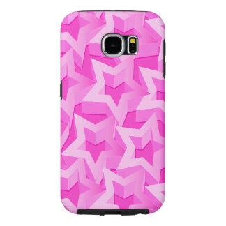 3D pink stars Samsung Galaxy S6 Cases