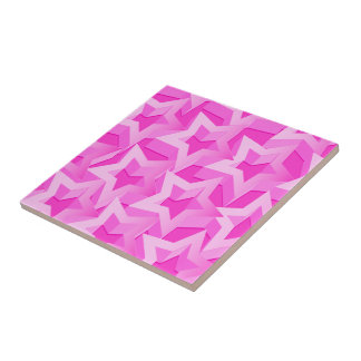 3D pink stars Tile