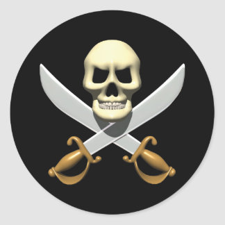 3D Pirate Skull and Crossed Swords Round Sticker