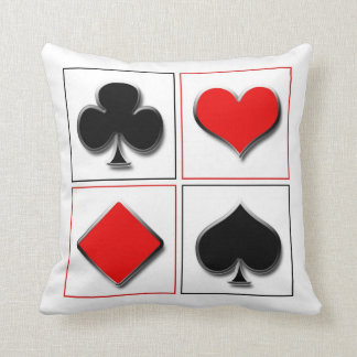 3D playing card suits Throw Pillow