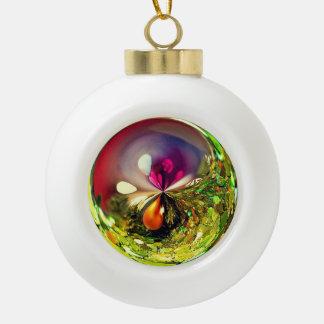 3D Poinsettia Wish Ceramic Ball Christmas Ornament