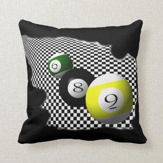 3D Pool Balls Psychobabble Splash Throw Pillow