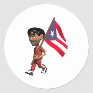 3D Puerto Rico Classic Round Sticker