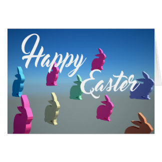 3D Rabbits Happy Easter Tender Pastel Colors card