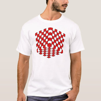 3D Red Cube Optical Illusion T-Shirt