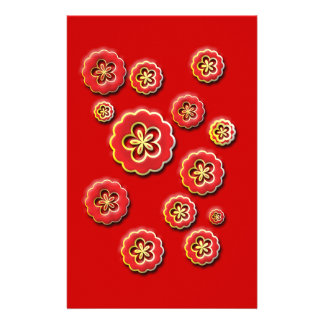 3D red yellow Flowers Stationery Paper