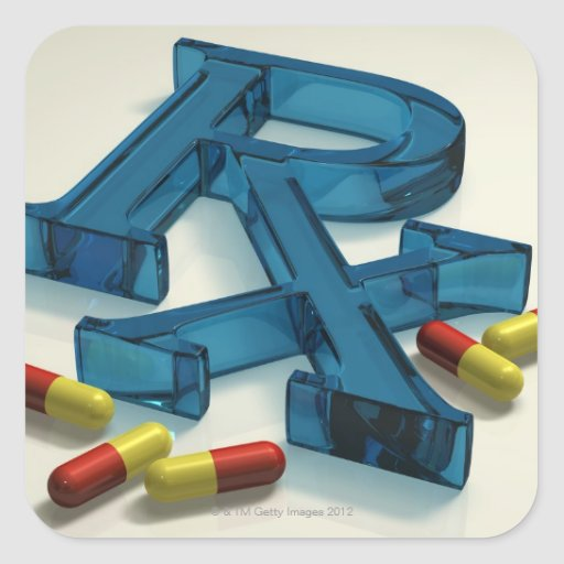 3D RX symbol with capsules Square Stickers