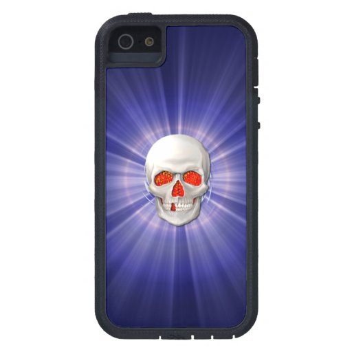 3D Skull - Angel of Death with Blue Halo iPhone 5 Case