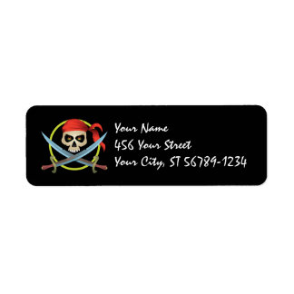 3D Skull Pirate Label